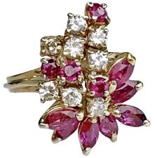 14K White Gold Diamond Marquise Ruby Spray Vintage Asymmetric Climber Ring
