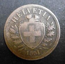 SUISSE - 2 RAPPEN 1851 A - Bronze - N°2