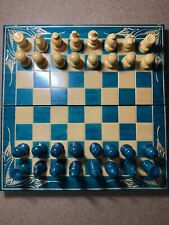 Beautiful Green Wooden Chess Set with Foldable Board