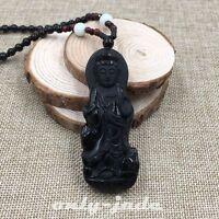 100% Natural Black Obsidian Jade Pendant & Necklace Hand-Carved Kwan-yin V-050