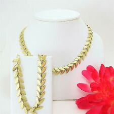 RARE Vintage Olive Leaves Chain Necklace With Matching Bracelet Set By Krementz