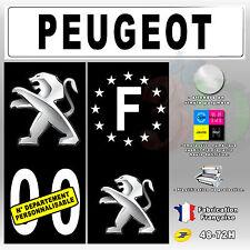"""Stickers Plaque D'immatriculation Fond Noir Logo """"Peugeot"""" 4 pièces 45x100 mm"""