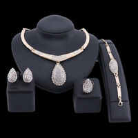 Fashion Gold Plated Crystal Pendant Necklace Earring Ring Bracelet Jewelry Sets