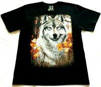 Husky Dog Flowers Glow In The Dark Graphic Print Mens Black T Shirt Top Size XL