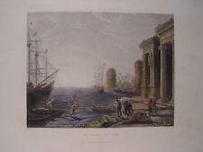 Italia «Italian sea port» Incisione Russell William Thompson Smith (engraving)
