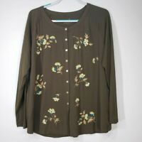 J. Jill Women's Top Large L Green Embroidered Floral Button Long Sleeve