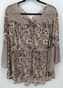 Style & Co Plus Size Blouse 3X Pink Gray Babydoll Top 3/4 Tier Scoop Keyhole B12