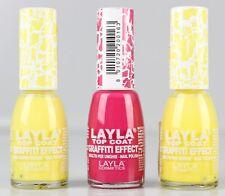 3x LAYLA COSMETICS TOP COAT Graffiti smalto crack VERNICE ROSA GIALLO 3x10ml cs1-a