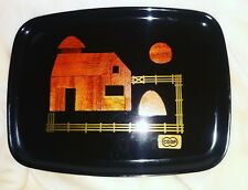 Mid Century Couroc of Monterey California Black Lacquer Serving Tray Inlaid Wood