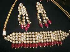 Ethnic Indian Wedding Red Bead High Defined Kundan Fashion Bridal Choker Set
