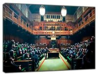 BANKSY MONKEY PARLIAMENT PAINTING  RE PRINT ON FRAMED CANVAS WALL ART DECORATION