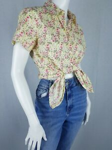 Tommy Hilfiger Size 12 Shirt Yellow Floral Rockabilly 50s Style Beach