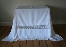 Large Vintage White Linen Tablecloth Hand Embroidered Lilies Crochet Lace Flower