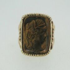 Eye Ring Size 7 1/4 10k Yellow Gold 1800s Carved Tiger