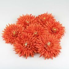 5X Orange 14cm silk Artificial Chrysanthemum Fake Flower heads DIY Wedding Decor