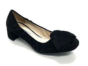 PRADA Black Suede Pumps Shoes Size 37.5 US 7.5 Bow Block Heels