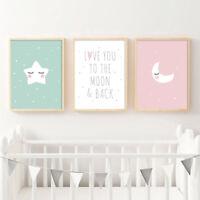 Baby Nursery Wall Decor Canvas Poster Cartoon Moon Star Wall Art Print Kids Room