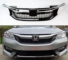 Front Chrome Black Bumper Upper Sport Mesh Grille For Honda Accord 4DR 2016-2017