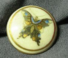 Hand Painted Butterfly Round Belt Bucklle Scarf Brass White Ceramic Antique G73