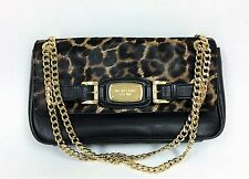 NEW MICHAEL KORS HAMILTON BLACK LEATHER+CHEETAH,GOLD CHAIN,CLUTCH, SHOULDER FLAP