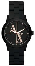 ARMANI EXCHANGE BLACK SILICONE WRAPPED ROSE GOLD TONE BAND+CRYSTALS WATCH AX5074