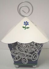 "Pfaltzgraff Birdhouse Tea Light Metal Blue Candleholder 5.5""x8.5"""
