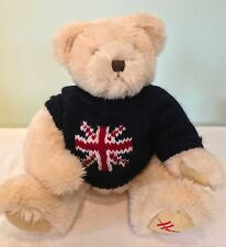 Harrods Plush Teddy Bear English Flag Blue Sweater UK Stuffed Toy