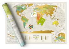 SCRATCH OFF TRAVEL MAP DETAILED WORLD GEOGRAPHY MAP PUSH PIN POSTER SCRATCH CARD