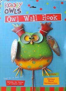Funny Kooky metal owl wall hook Indoor or Outdoor wall art