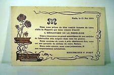 CARTON INVITATION 1899 PAVOTS ART NOUVEAU Chaussures F. PINET gravure Kossuth