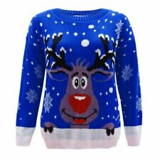 Men Ladies Women Knitted Crew Neck Rudolph Xmas Christmas Jumper Blue Sweater