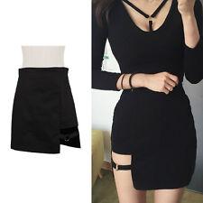 Women Mini Skirt Irregular Gothic Style Summer Casual Metal Circle Ring Black