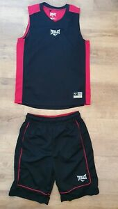 Black & Red Basketball Shorts & Vest Top - Age 9-10 Years  - By Everlast