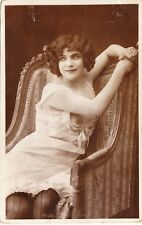 RPPC 1910s French Risque Nude breasts FLAPPER Lady Lingerie LACE UNDERWEAR