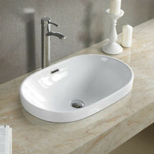Elimax's 5006C Bathroom Semi-Recessed Ceramic Porcelain Vessel Sink /Drain