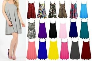 WOMENS LONG SKATER STRAPY SWING SUMMER DRESS CAMISOLE PLUS SIZE VEST TOP