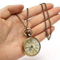 Unique Retro Antique Bronze Quartz Pocket Watch Necklace For Men's Boy's Gift