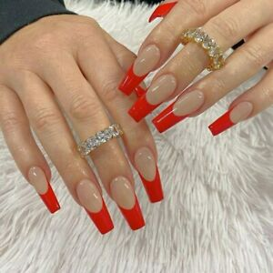 French Red Tips False Nails Extra Long Coffin Full Artificial Press On Nails