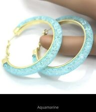 "Sparkly 2"" Hoop Earrings U Pick Color Blue Red Pink Gray Purple Brown US Seller"