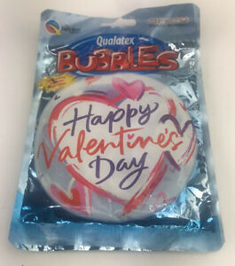 """Happy Valentines Day Heart Qualatex 22"""" Bubble Balloon, Look Valentines Day"""