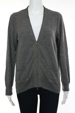 J Crew Gray Long Sleeve V Neck Zipper Closure Cardigan Size Large
