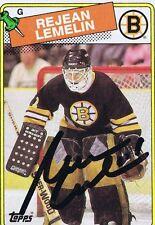 Rejean Lemelin 1988 Topps Autograph #186 Bruins