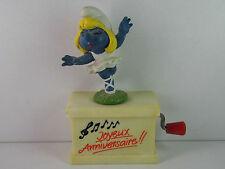 A15-Smurf/Smurf French Music Box Ballerina Joyeux Anniversaire