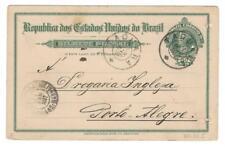 Brazil Brasil 50 Reis Postal Card. 1907 Taquara to Porto Allegre