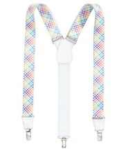 Club Room Men's Plaid Clip-On Suspenders, Rainbow Multi-Color, One Size