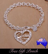 925 Sterling Silver GUESS Crystal Love Heart Pendant Charm Chain Bracelet Gift