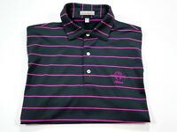 Peter Millar Summer Comfort M Men's Black Purple Stripe Golf Polo Short Sleeve