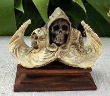 Grim Reaper Death Skeleton Skull Carved Standing Buffalo Bone Great Carving