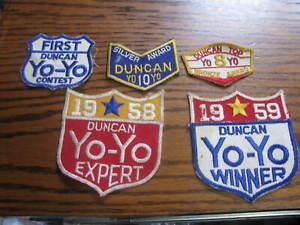 5 Duncan Yo-Yo Patches 1958 1959  Winner Expert First Silver Bronze    # UP C