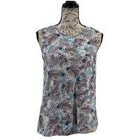 J. Jill Sleeveless Sweater Women's Floral Knit Top 100% Linen Size Small